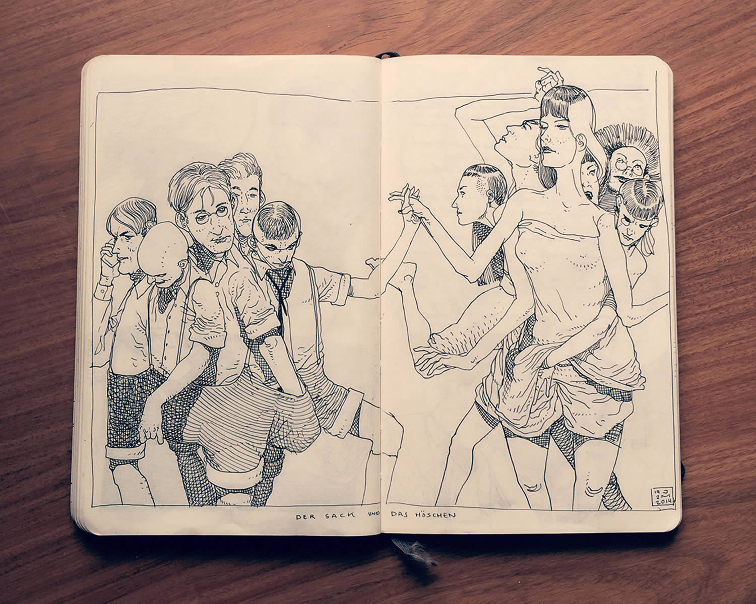 people holding hands, sketchbook drawing by Jared Muralt