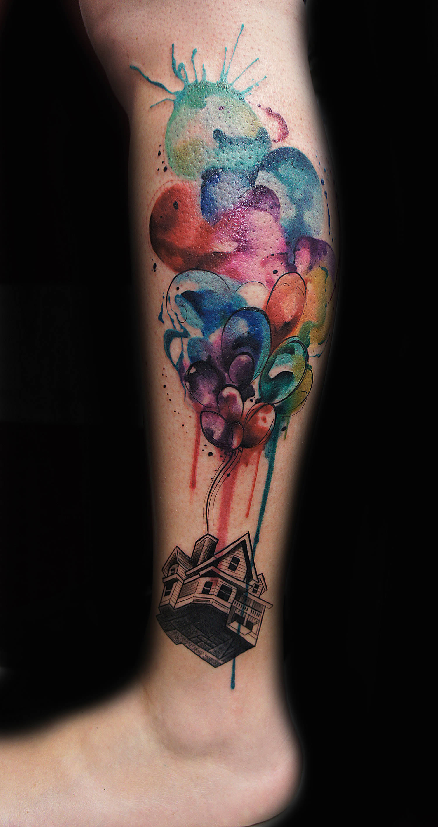 up in the air, balloons and house, tattoo by jay freestyle