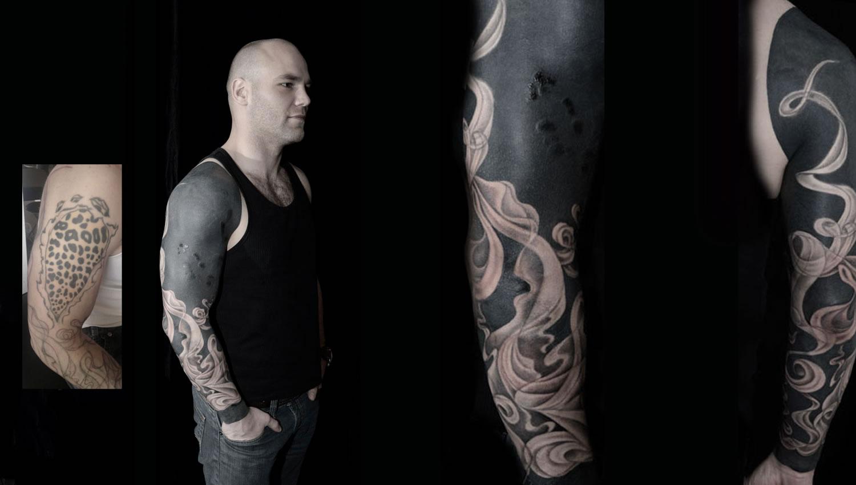 fumes pattern on arm, black, tattoo by jonny breeze