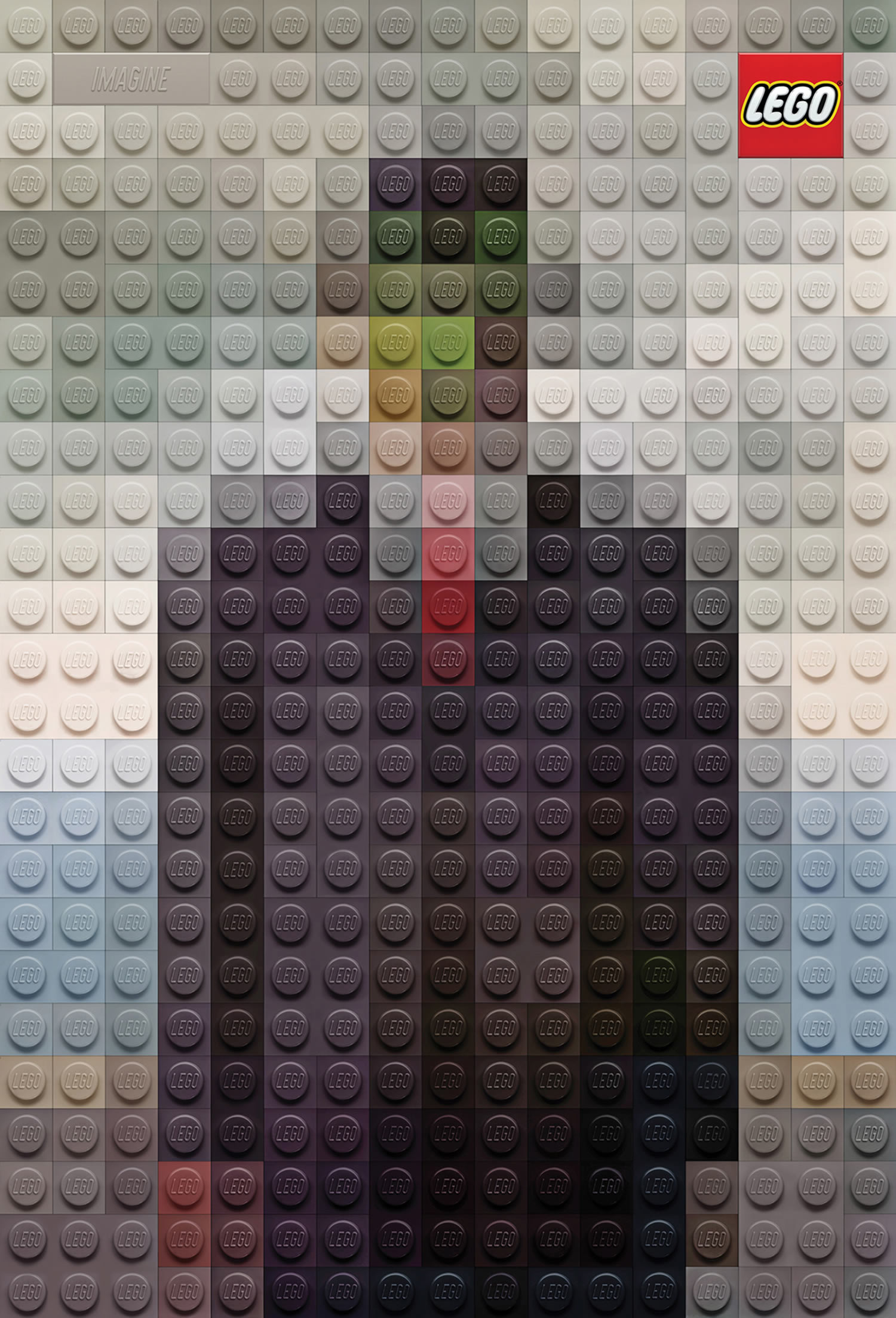 son of man, magritte, lego poster by marco sodano