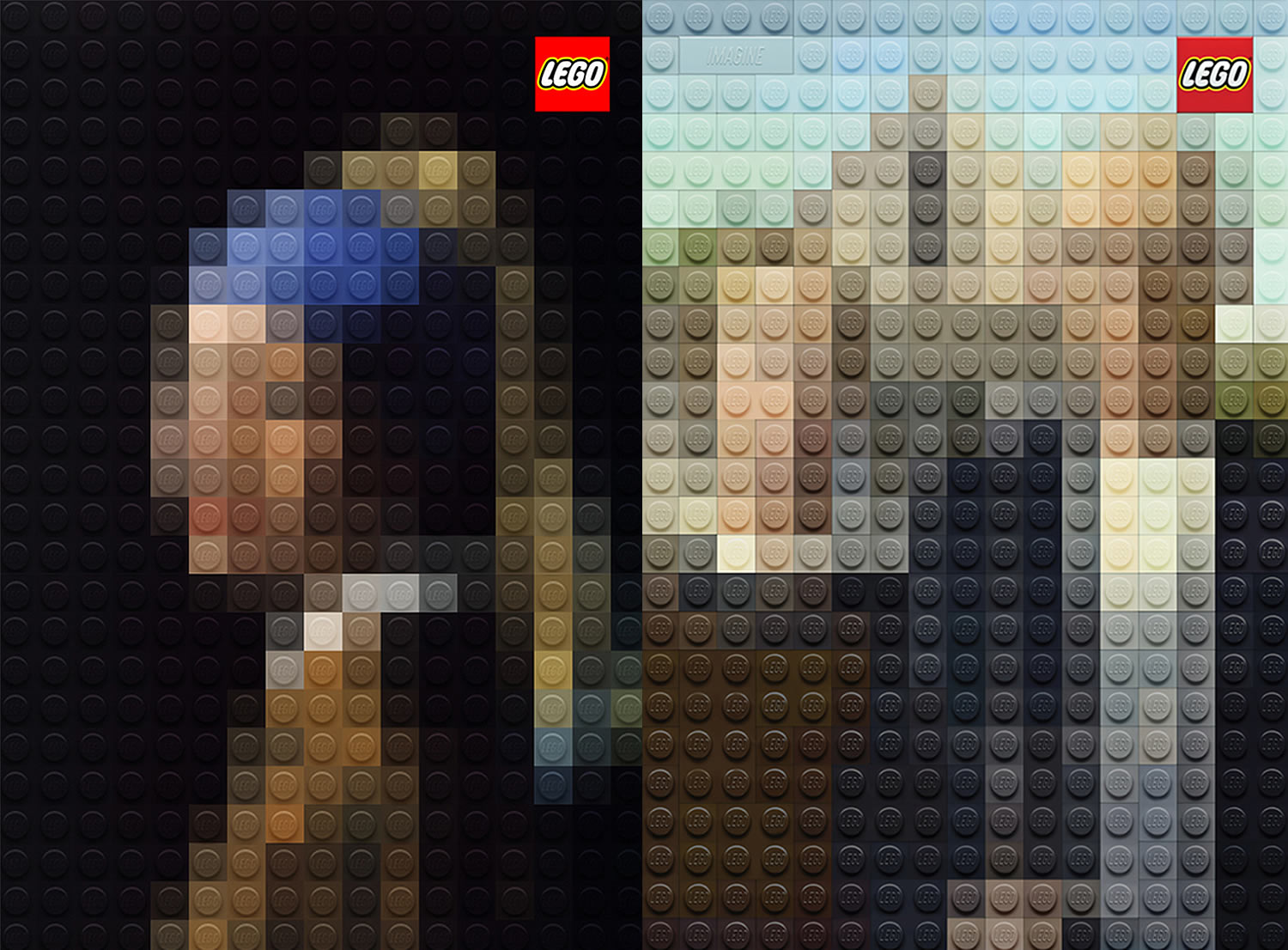 girl with the pearl earring and american gothic, lego posters