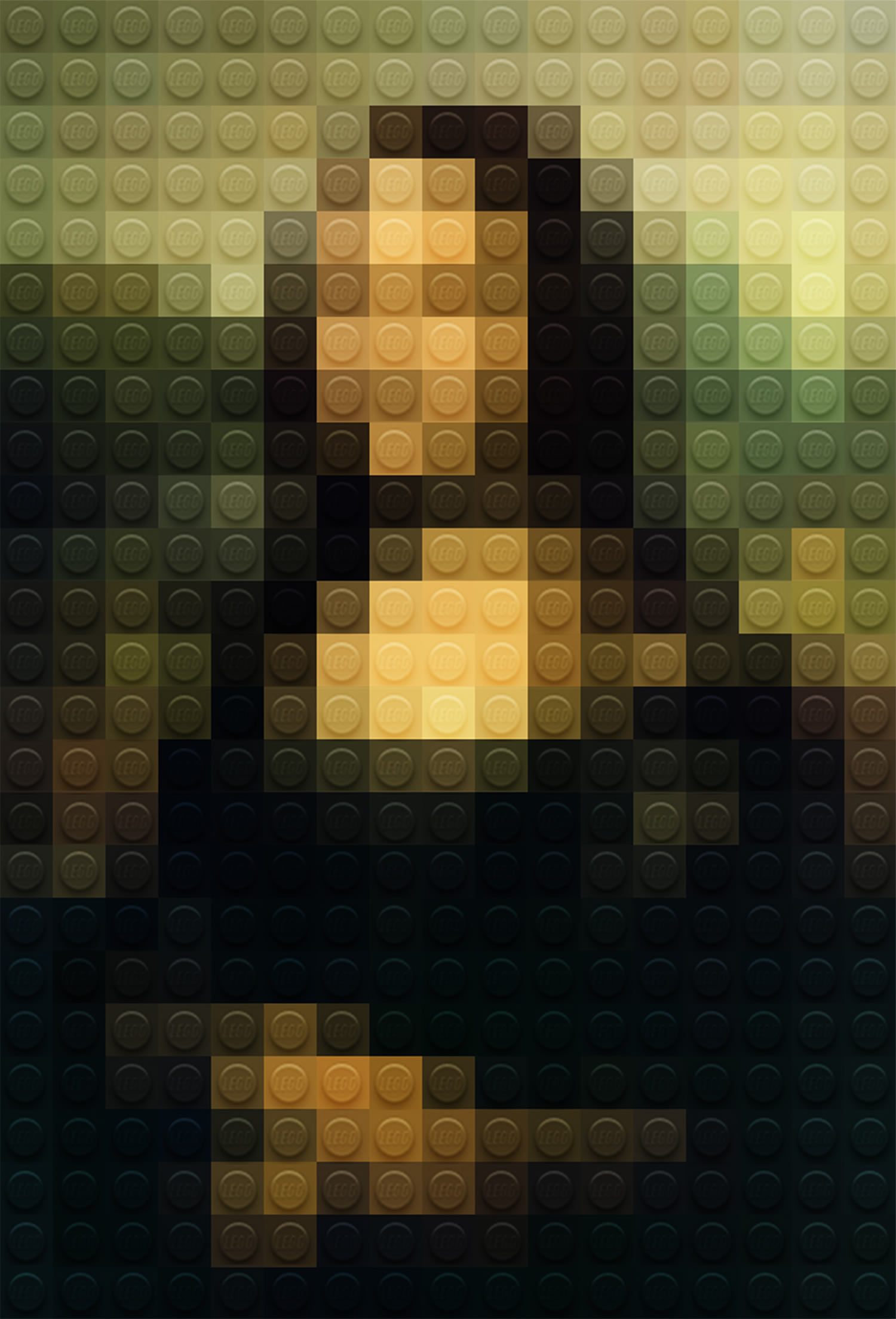 mona lisa in lego, poster by marco sodano