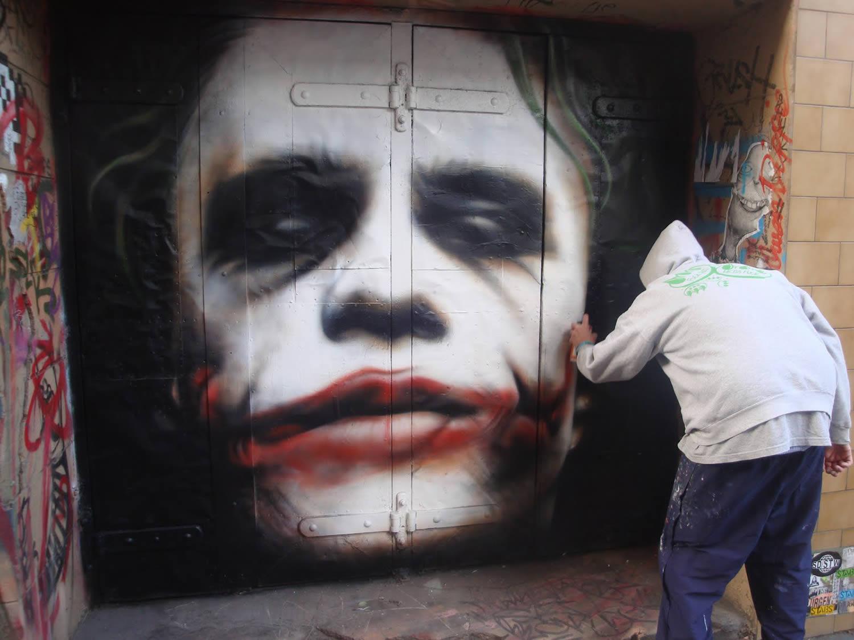 joker, the dark night, heath ledger, graffiti by owen dippie