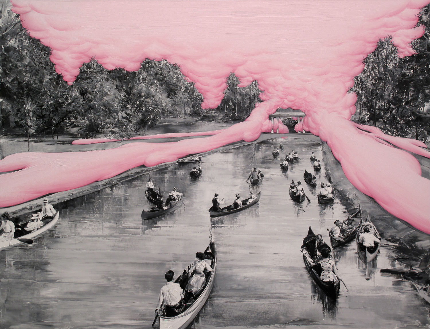 paco pomet bubblegum pink boat painting