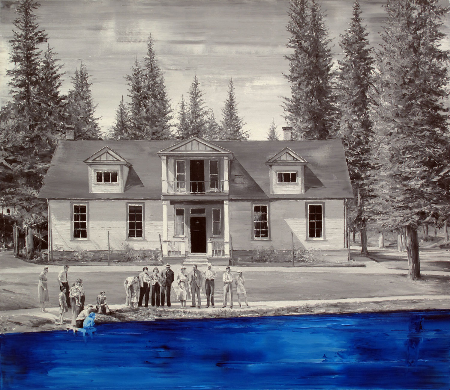paco pomet house blue painting pencil drawing