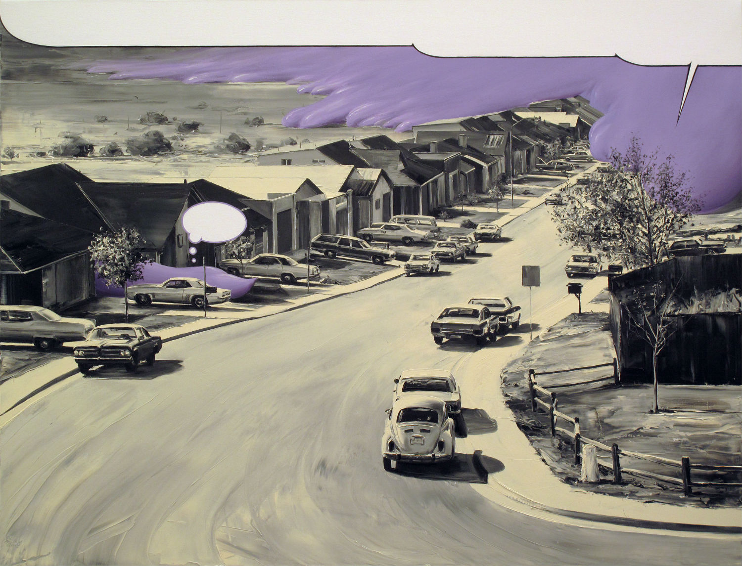 paco pomet purple street pencil drawing