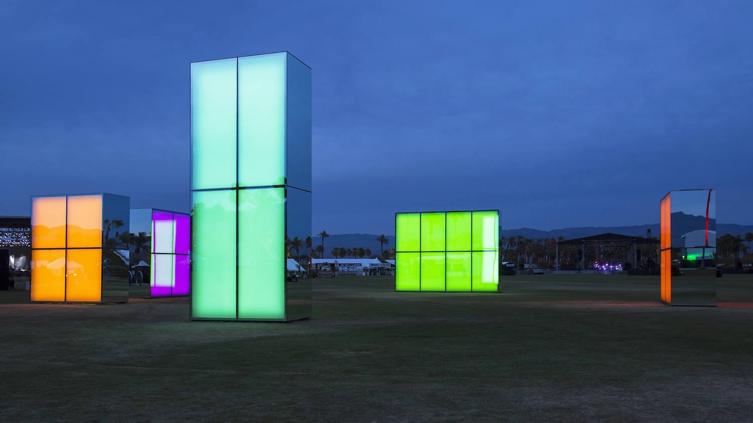 colored light boxes coachella by philip k smith