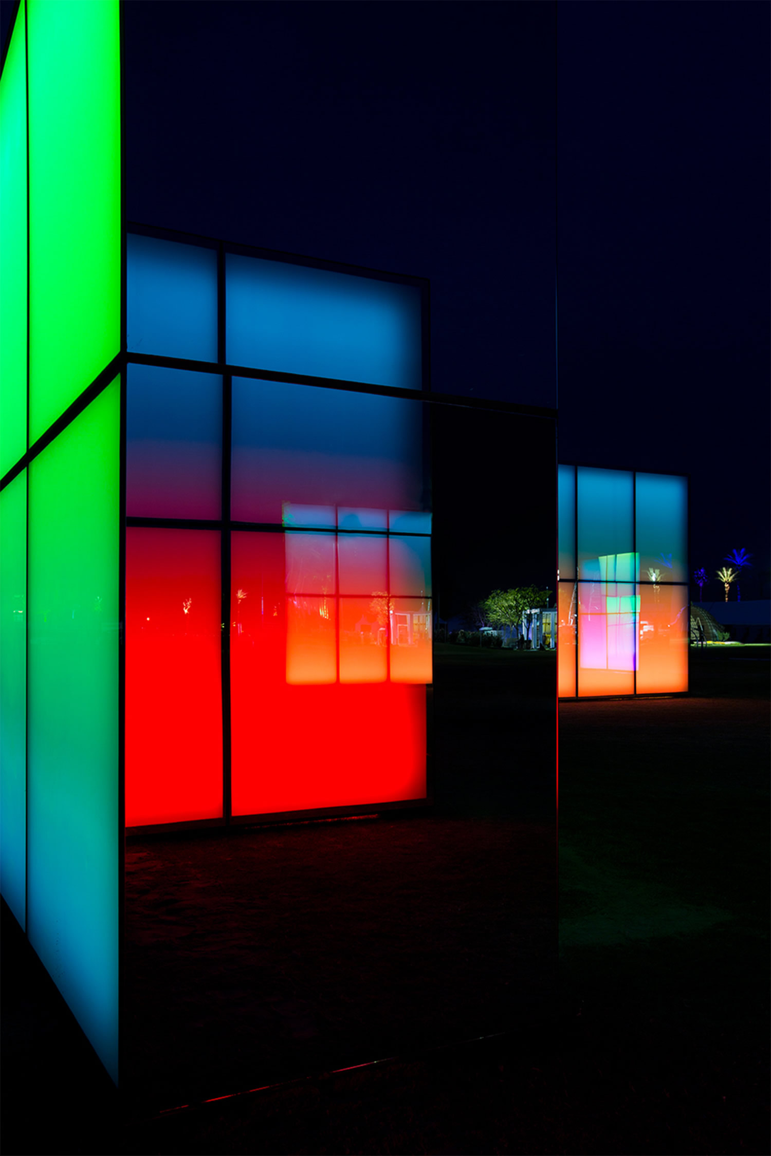 colored blocks in coachella by phillip k smith