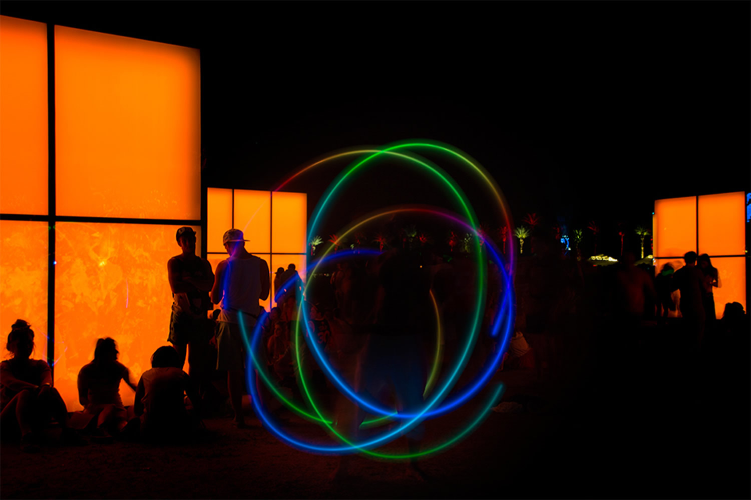 light painting circles and orange blocks. art installation by phillip k smith