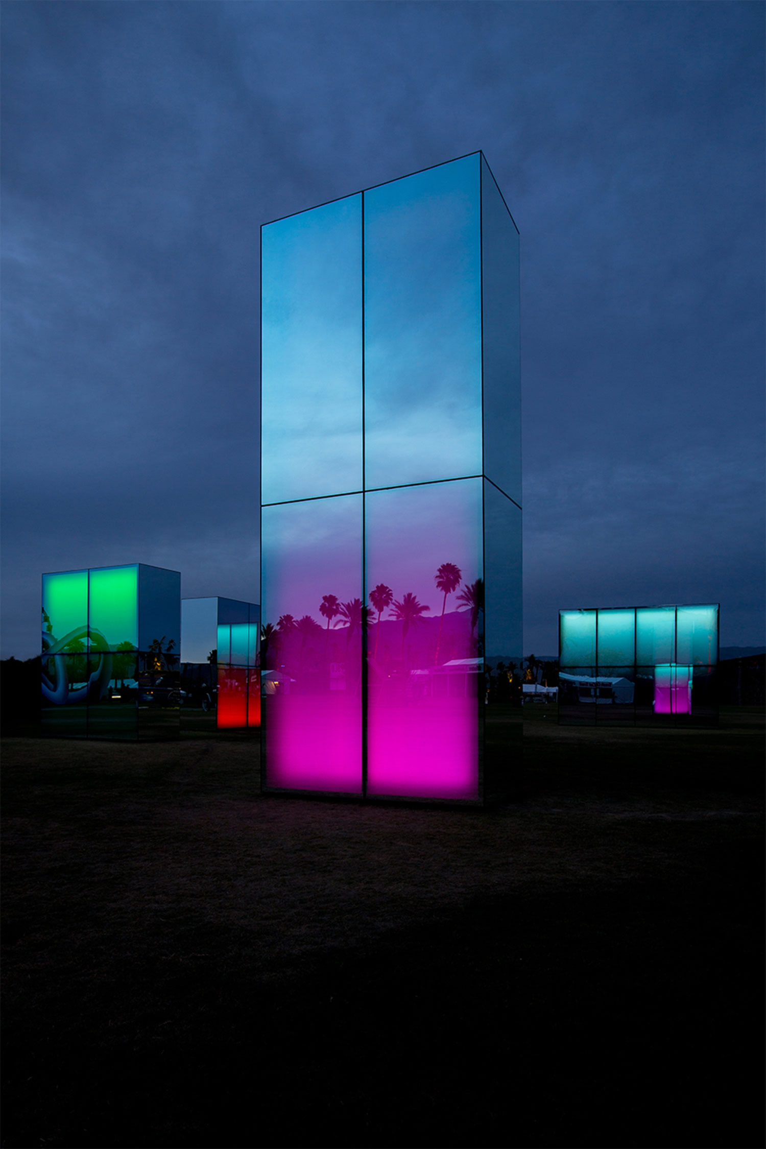 palm trees reflected on mirror blocks by philip k smith