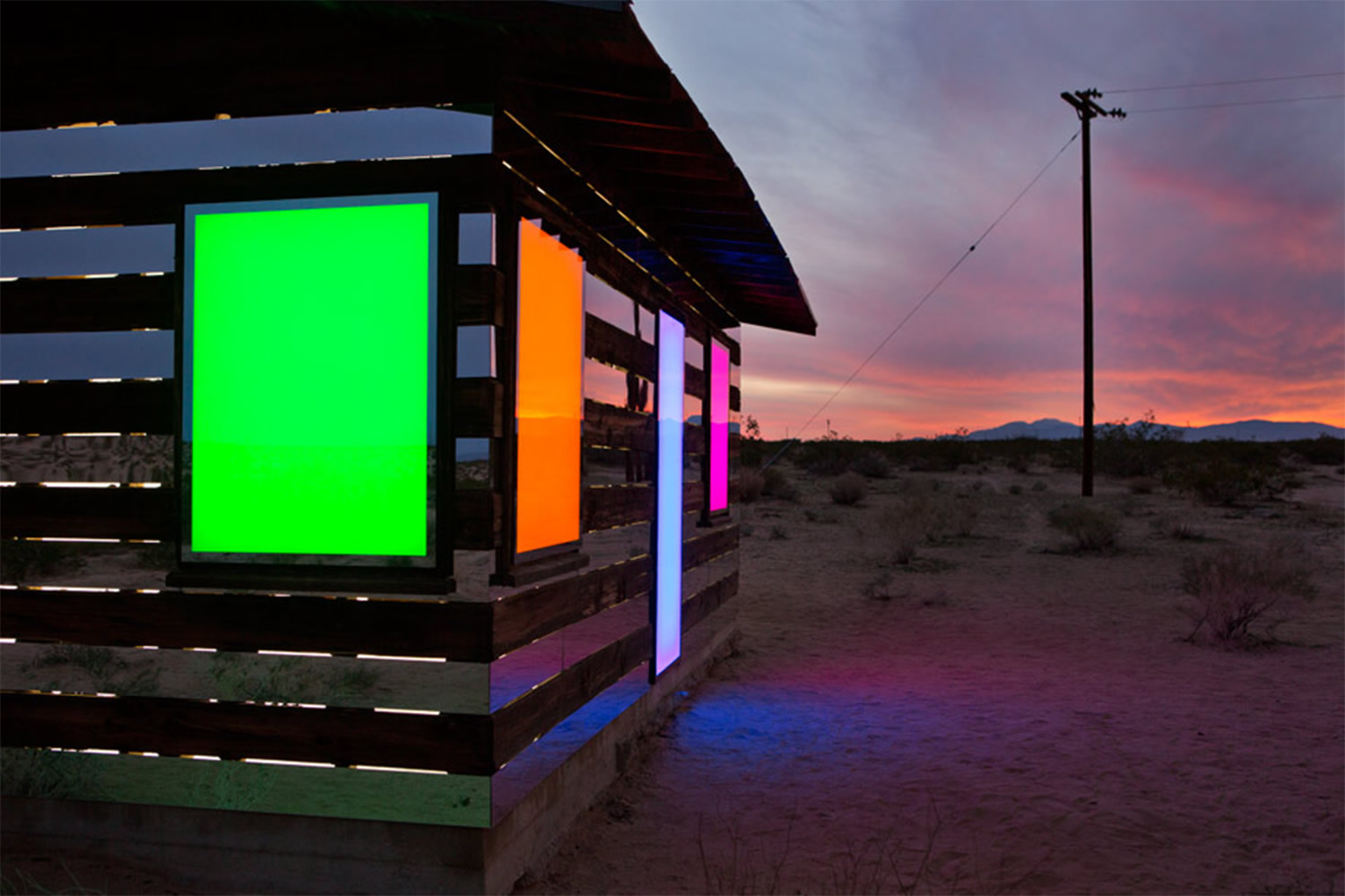 side view of lucid stead, with colored windows by phillip k smith