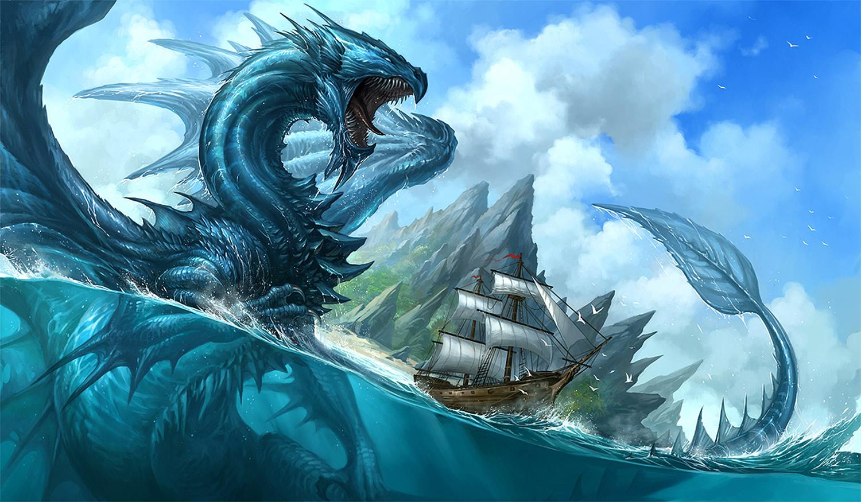 blue dragon and ship, digital painting by Sandara