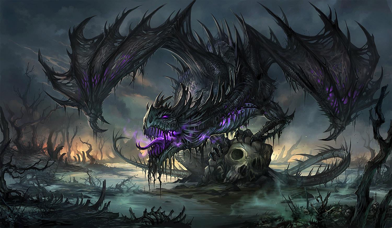 black dragon, digital painting by Sandara
