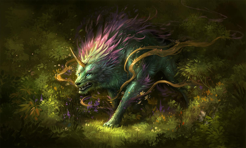 rainbow lion creature, digital painting by Sandara