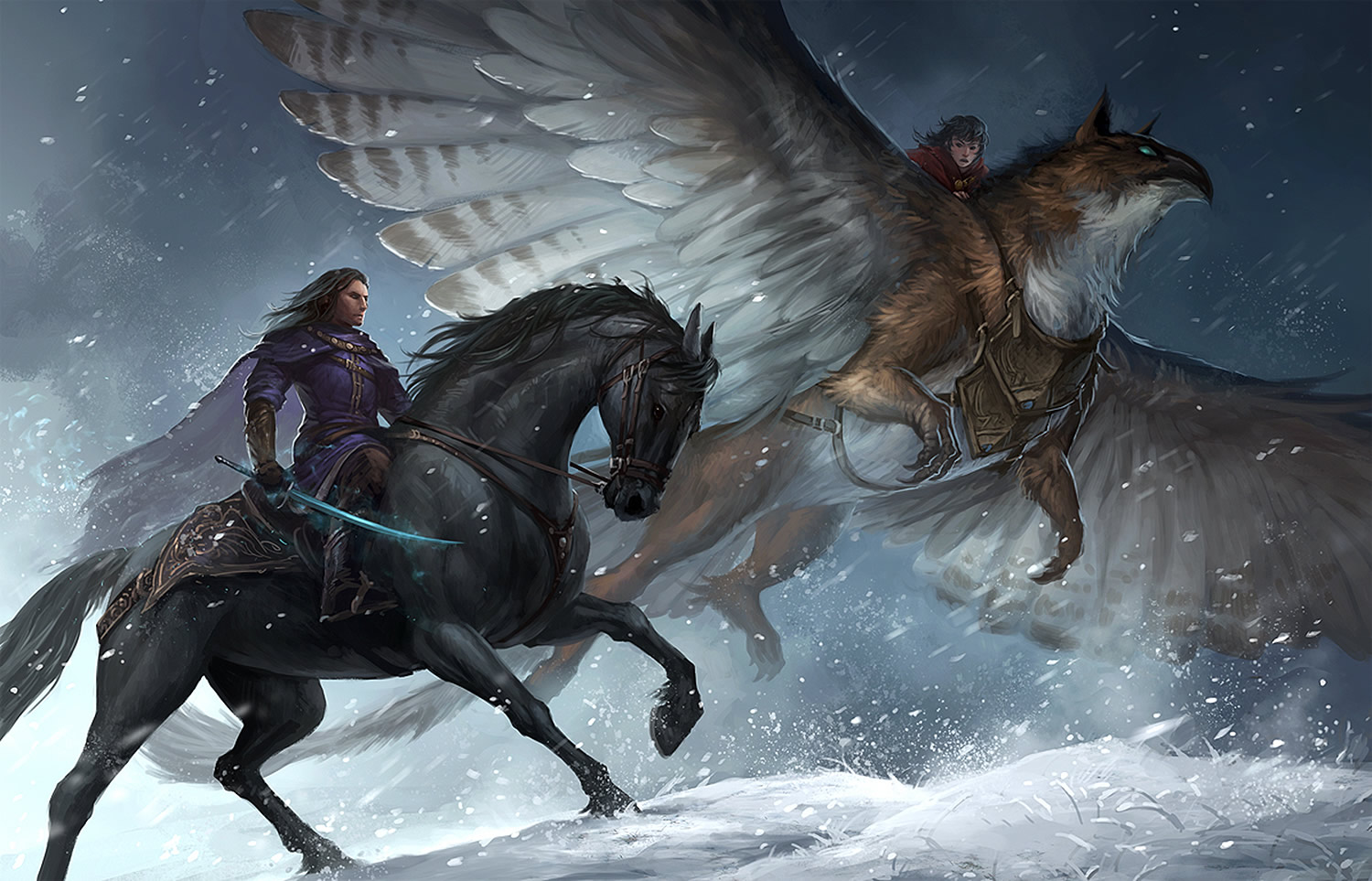red wings, horse and bird, digital painting by Sandara