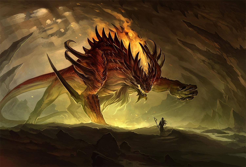 fire dragon scene, digital art by sandara