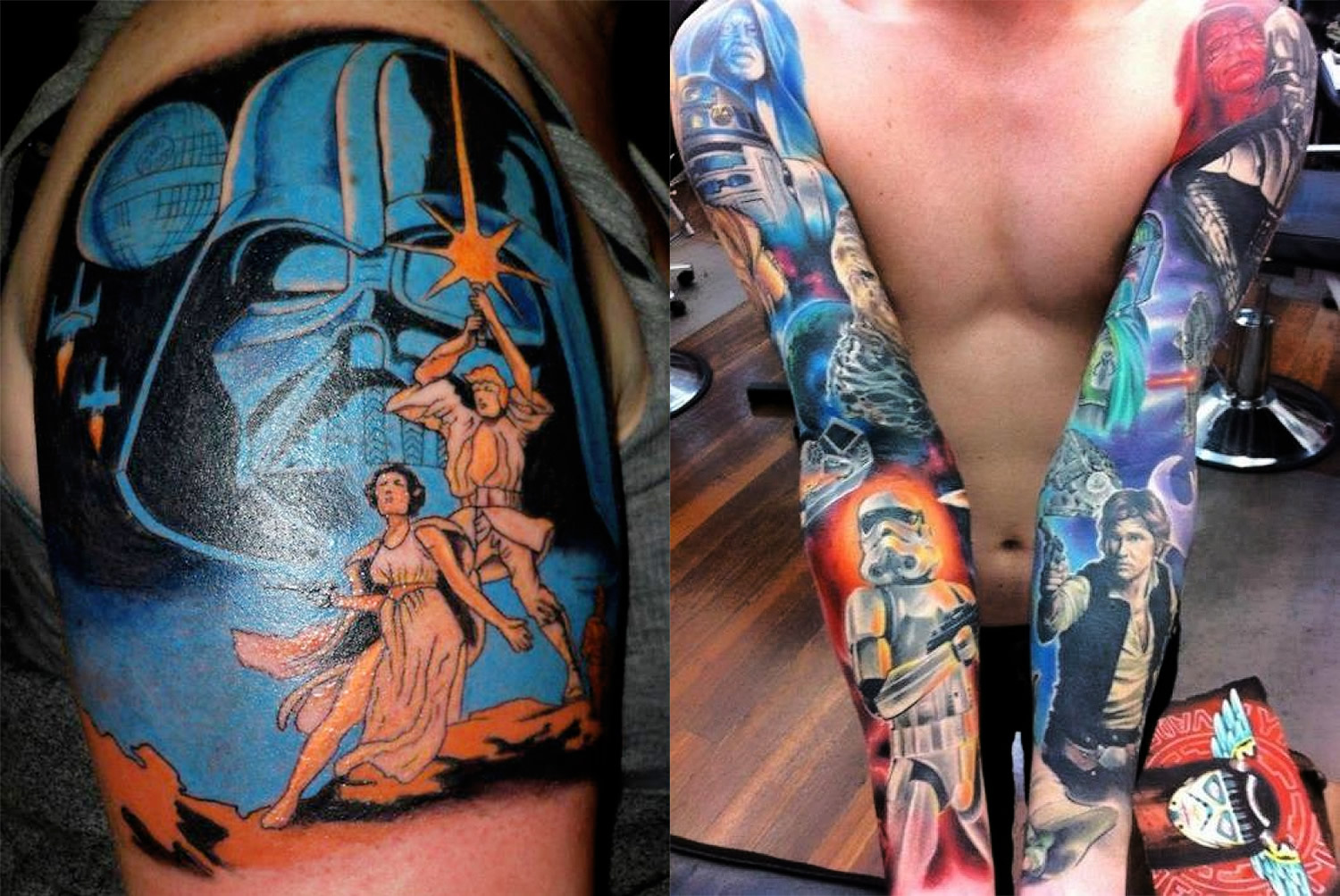 darth vader, star wars comic style and elaborate sleeve with star wars characters