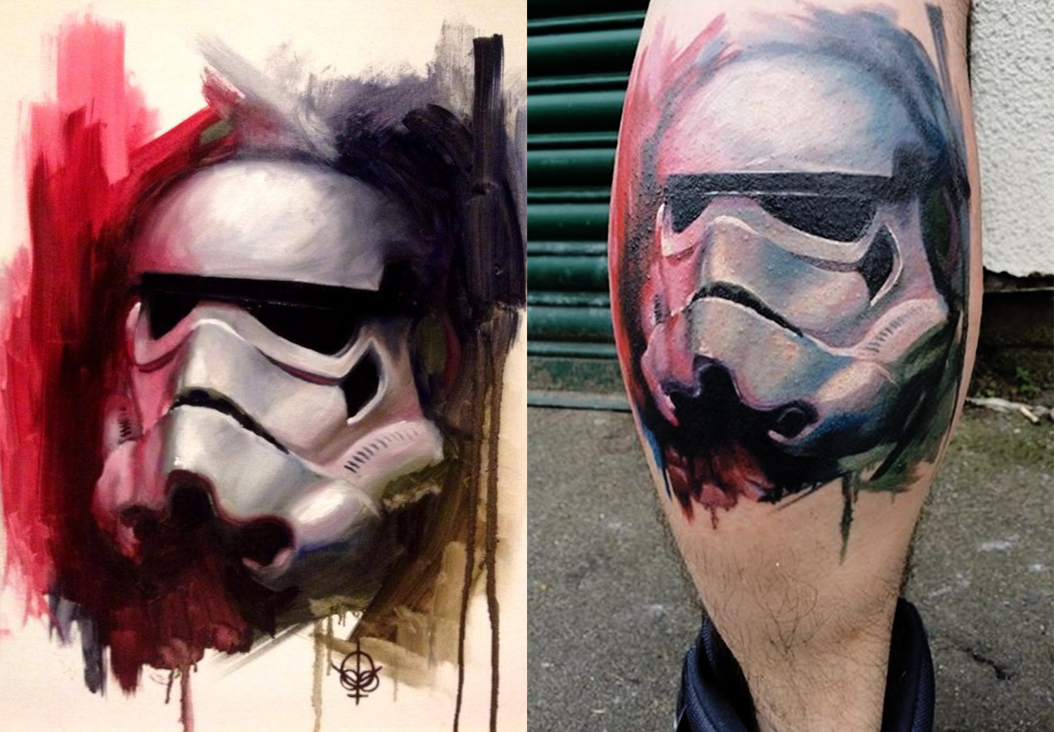 On the left the Stormtrooper painting that served as basis for the tattoo on the right, by Matt Oddboy Barratt-Jones. Star wars