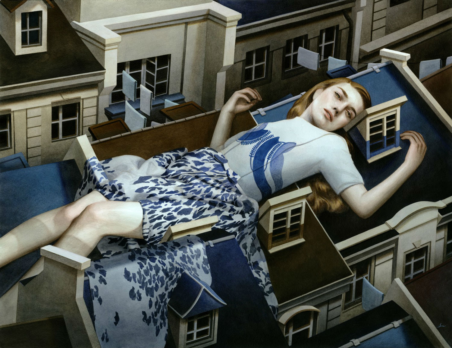 tran nguyen painting building  sleep girl