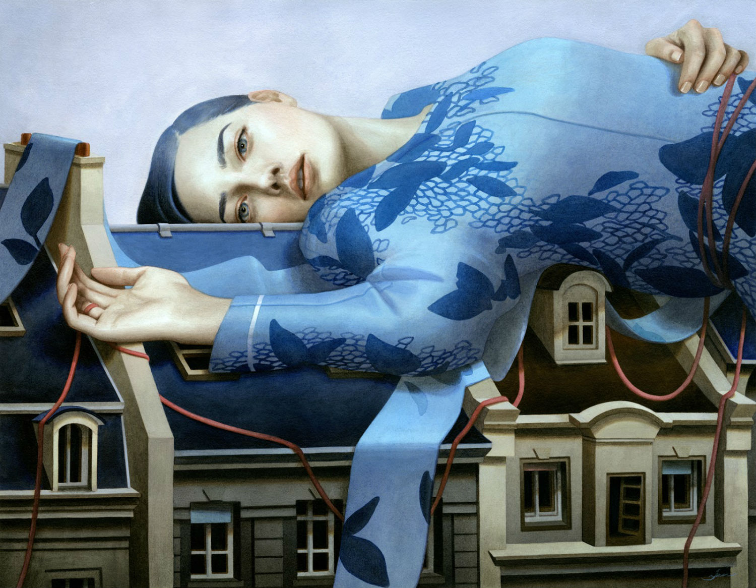 tran nguyen sleep girl blue dress