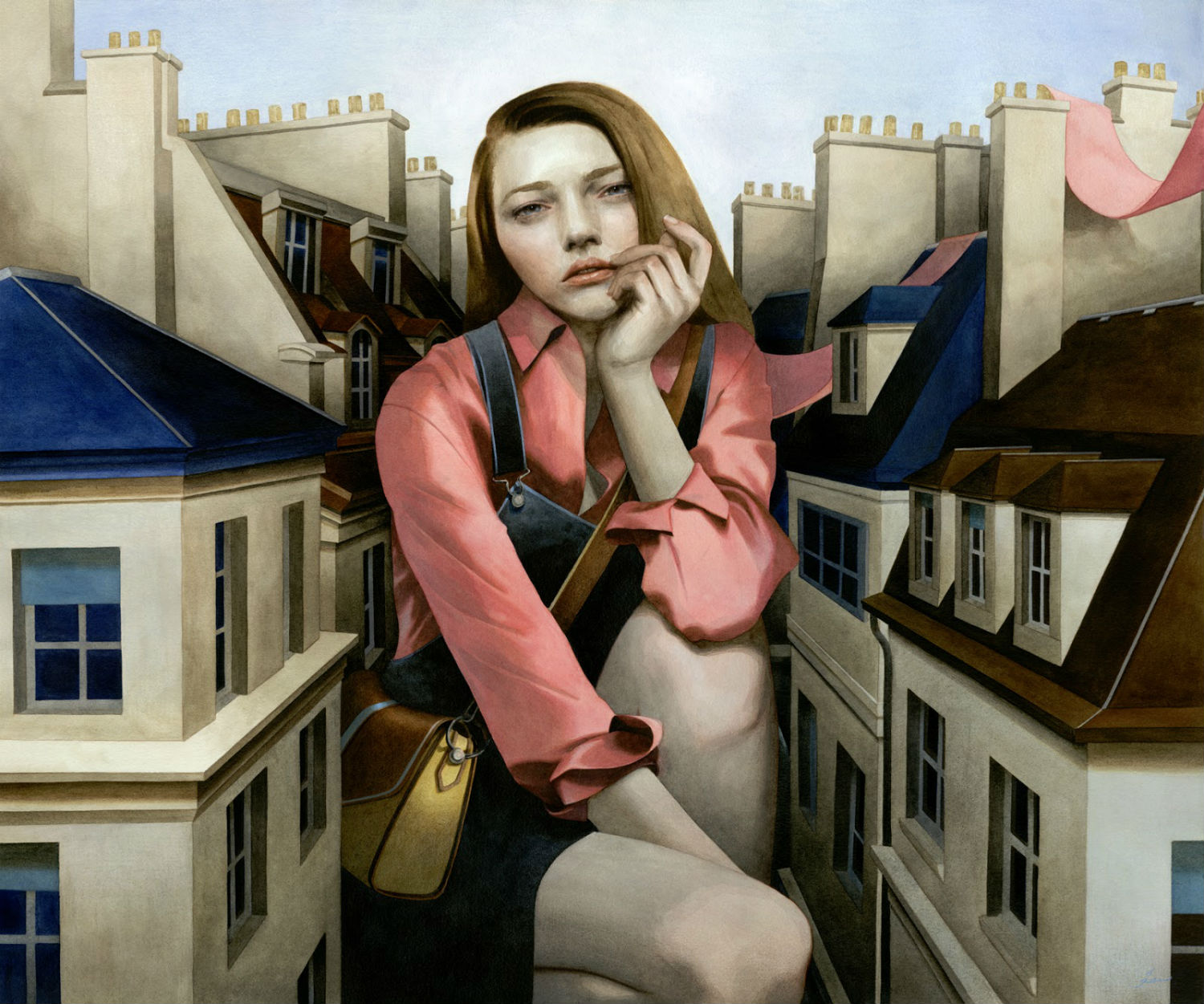 tran nguyen girl pink buildings