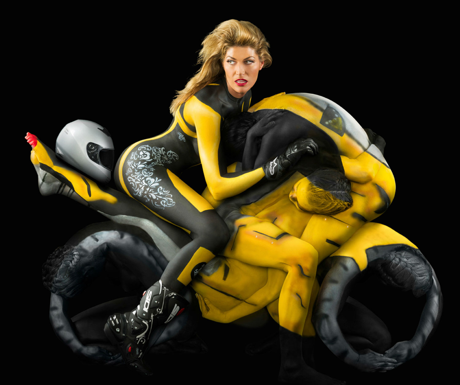 trina merry human motorcycle yellow