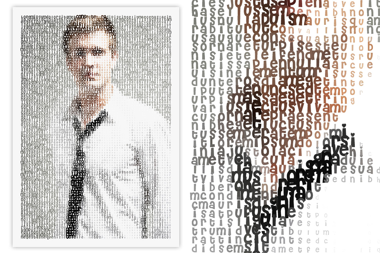 Typographic art, portrait of man with tie, Create Typographic Images with Typo-Painter