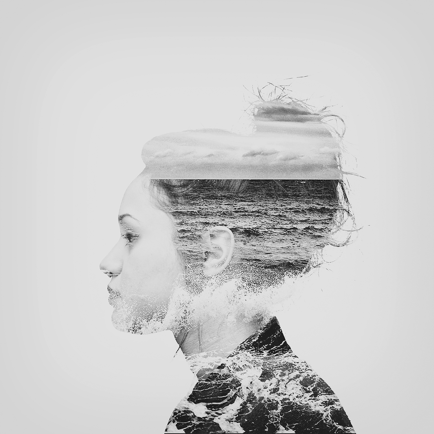 valeria vacca black white model double exposure