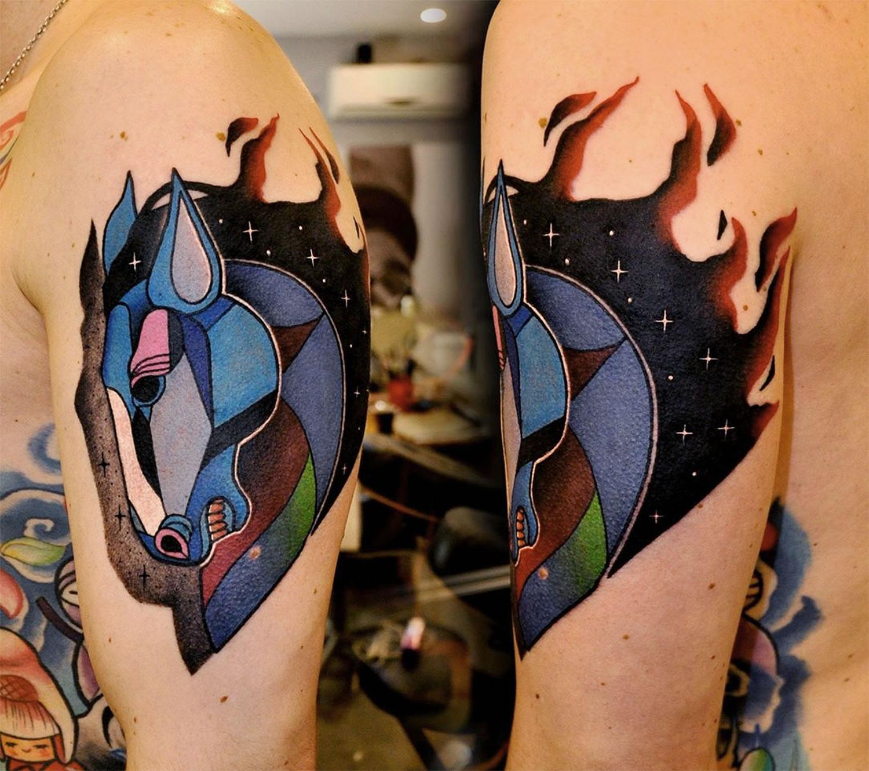 horse tattoo by Marcin Aleksander Surowiec