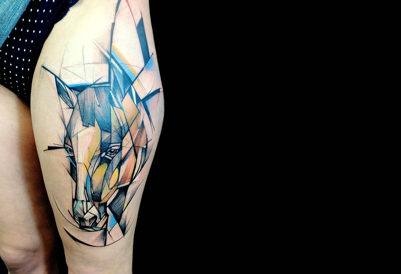 artistic horse tattoo on leg by Jan Mráz