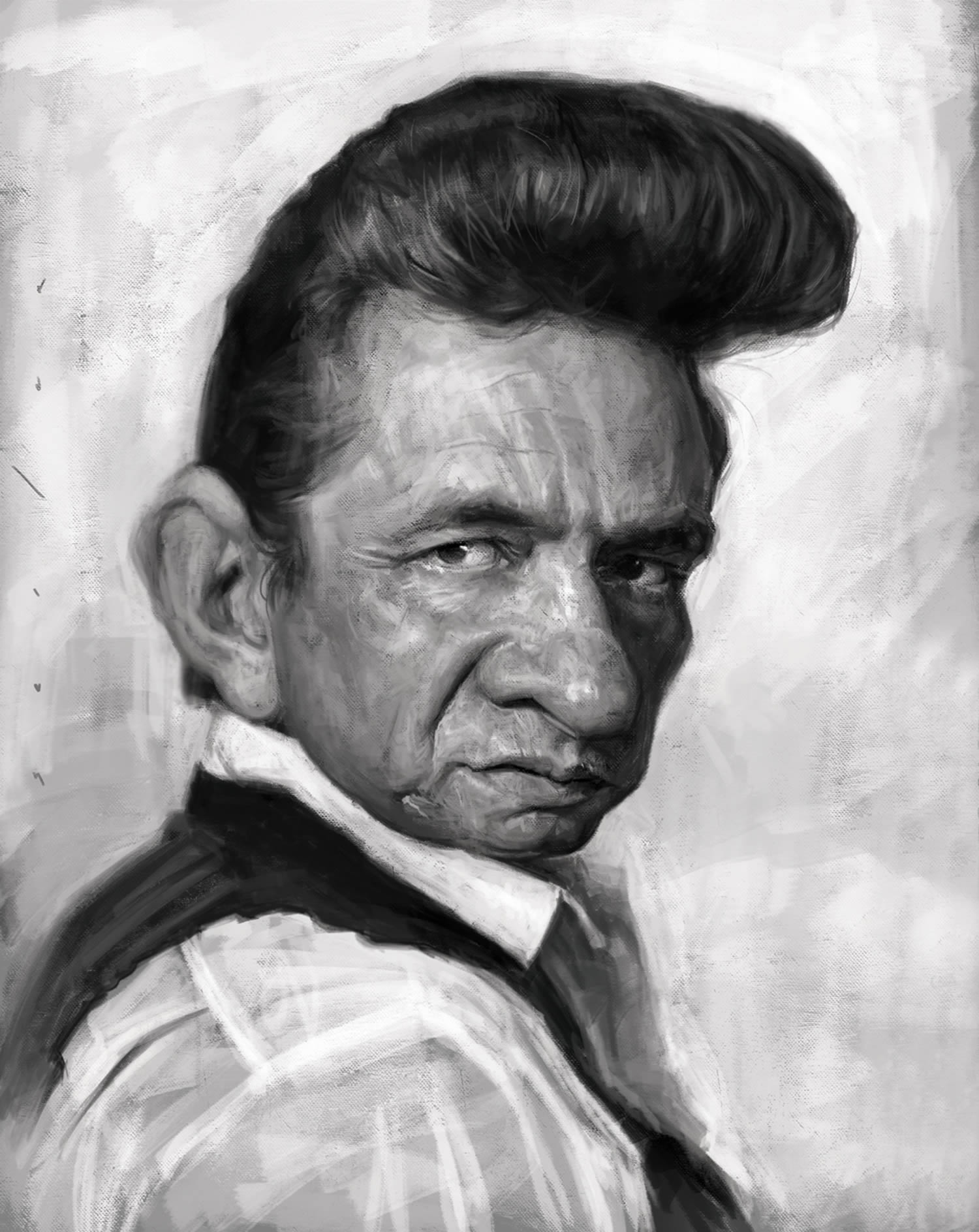 johnny cash, caricature by jason seiler