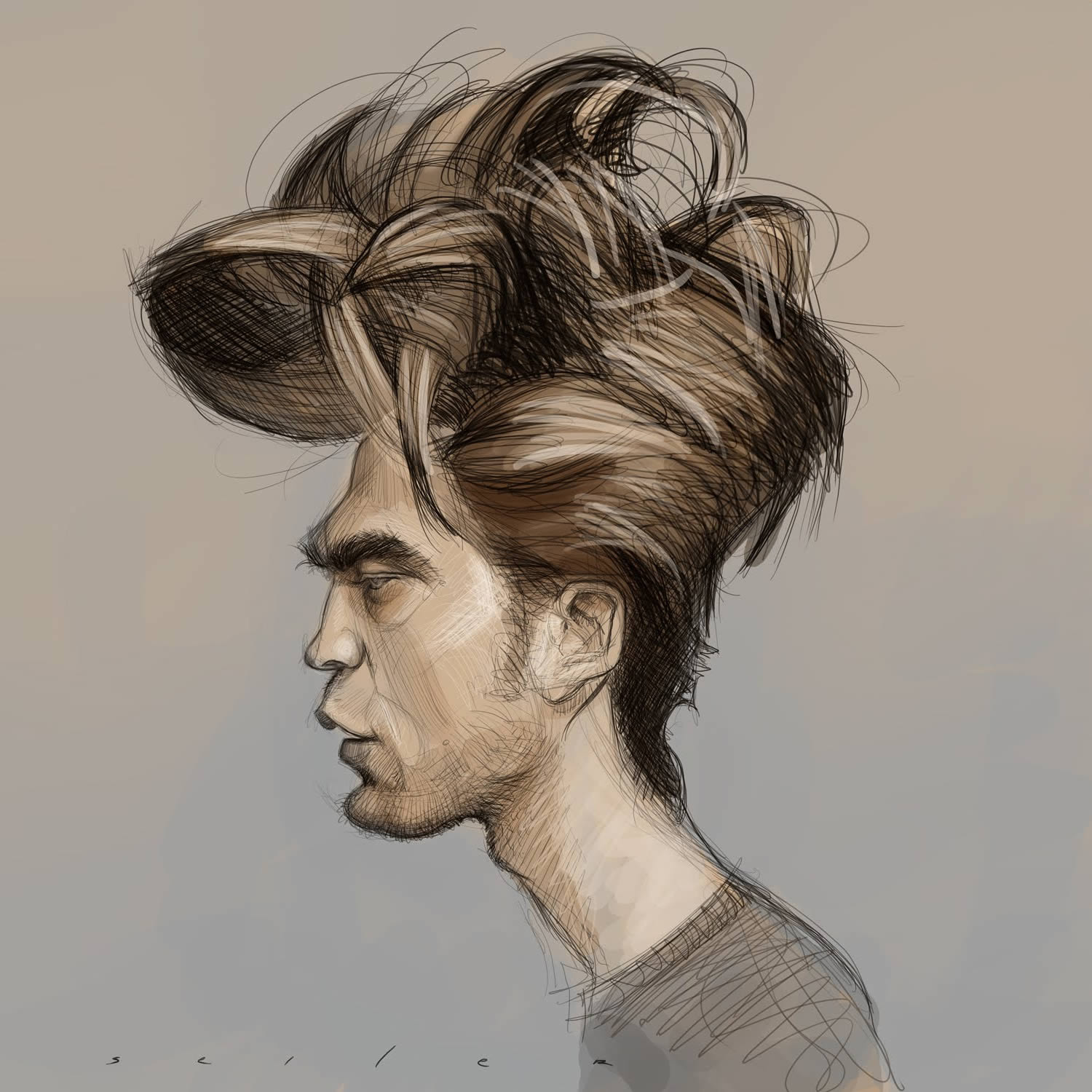 Robert Pattison (from Twilight), caricature by jason seiler