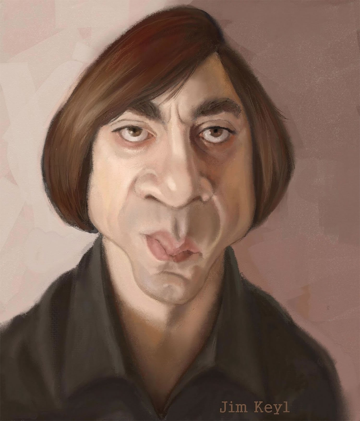 javier bardem caricature by jim keyl