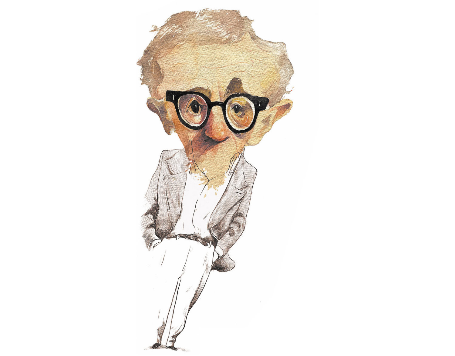woody allen caricature, painting by kleber sales