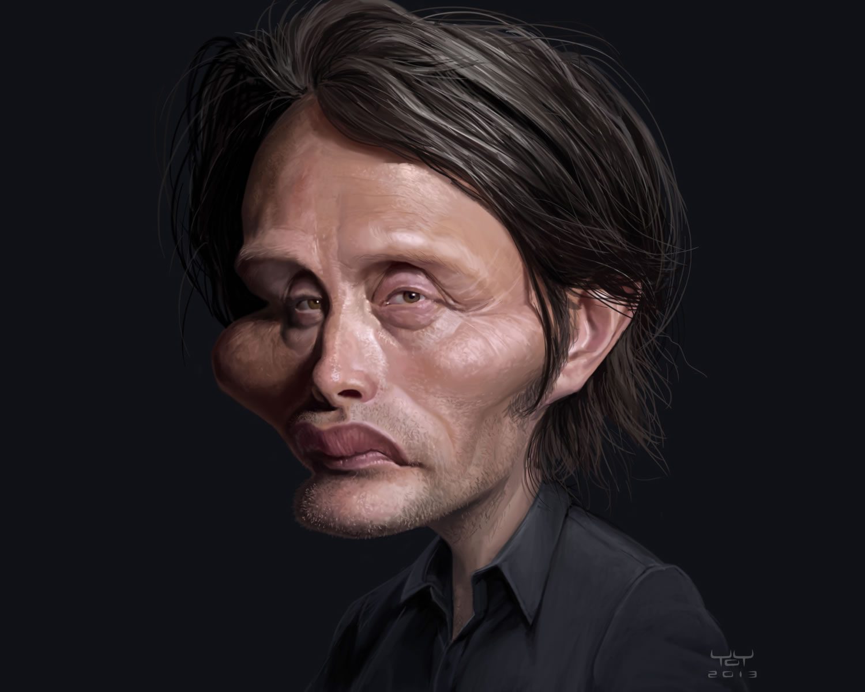 mads mikkelsen by yoann lori, caricature