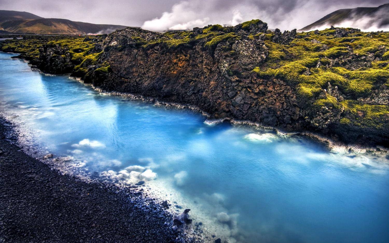 icelandic landscape blue river