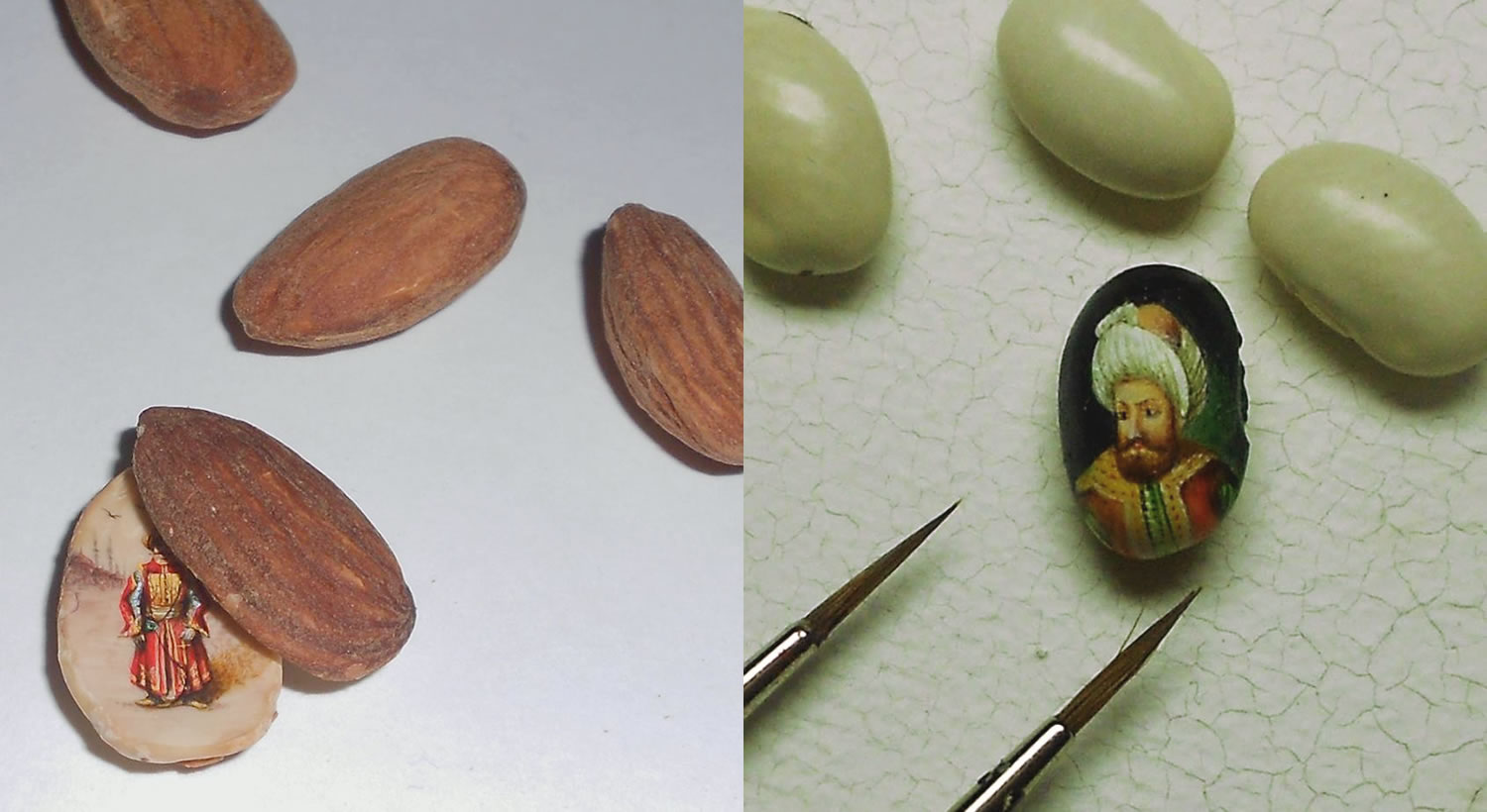 micro paintings on almond and green bean, by Hasan Kale