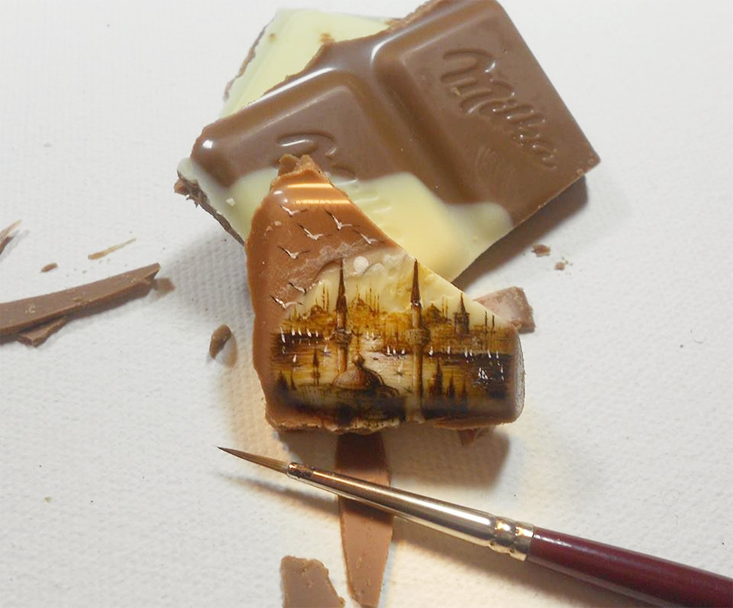 istanbul painted on milka chocolate square