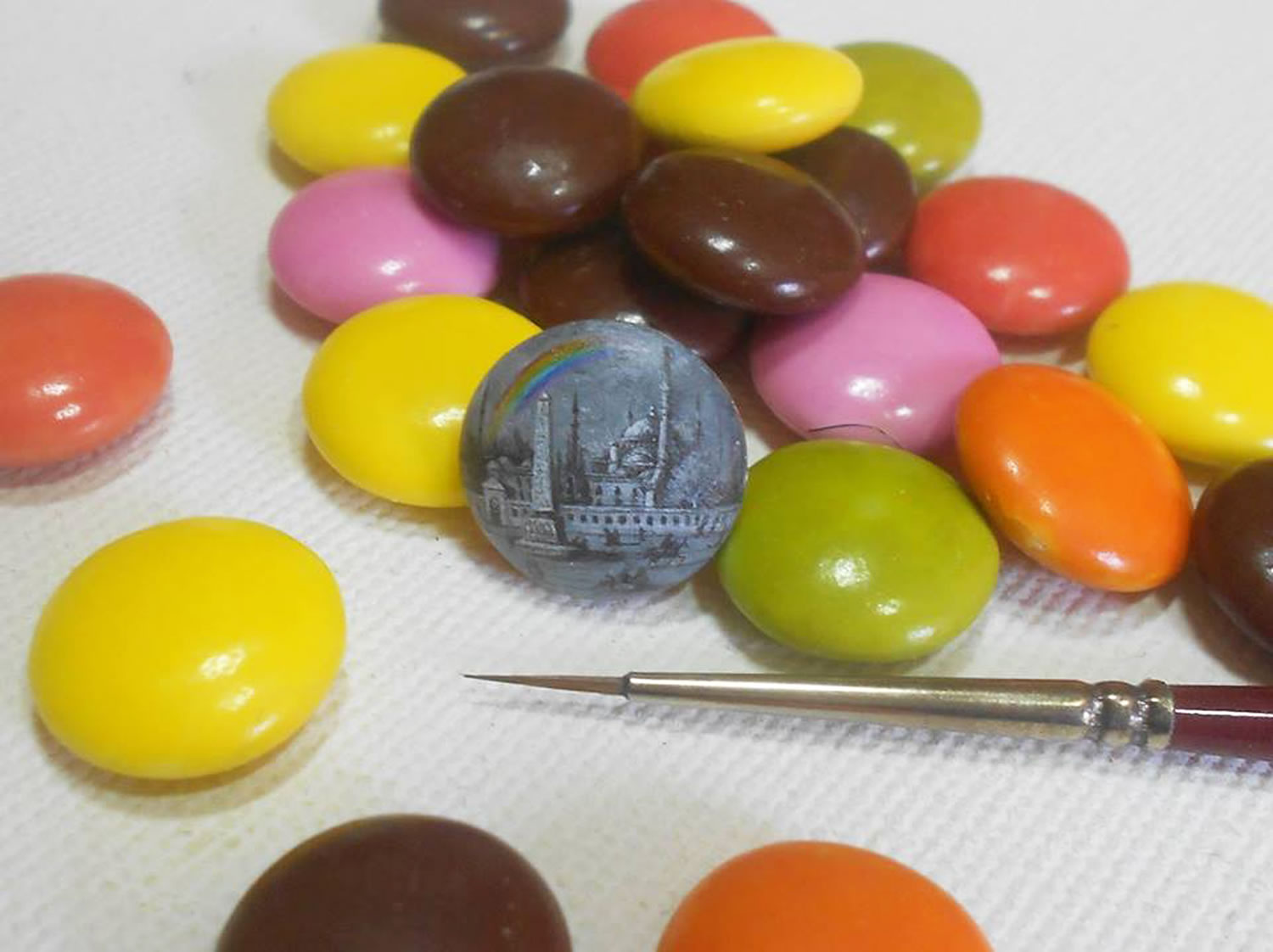 painting on m&m by hasan kale