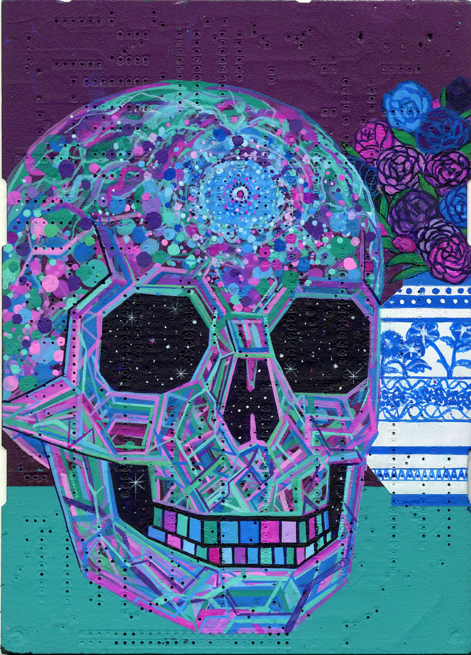 leo eguiarte skull painting