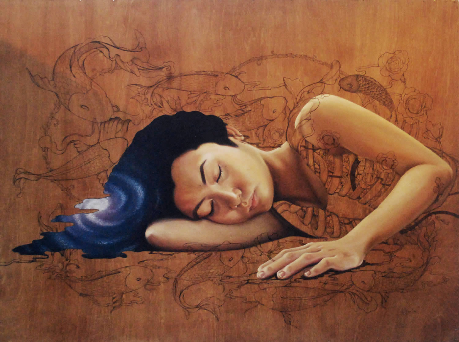 asian girl sleeping, painting on wood by mek yambao