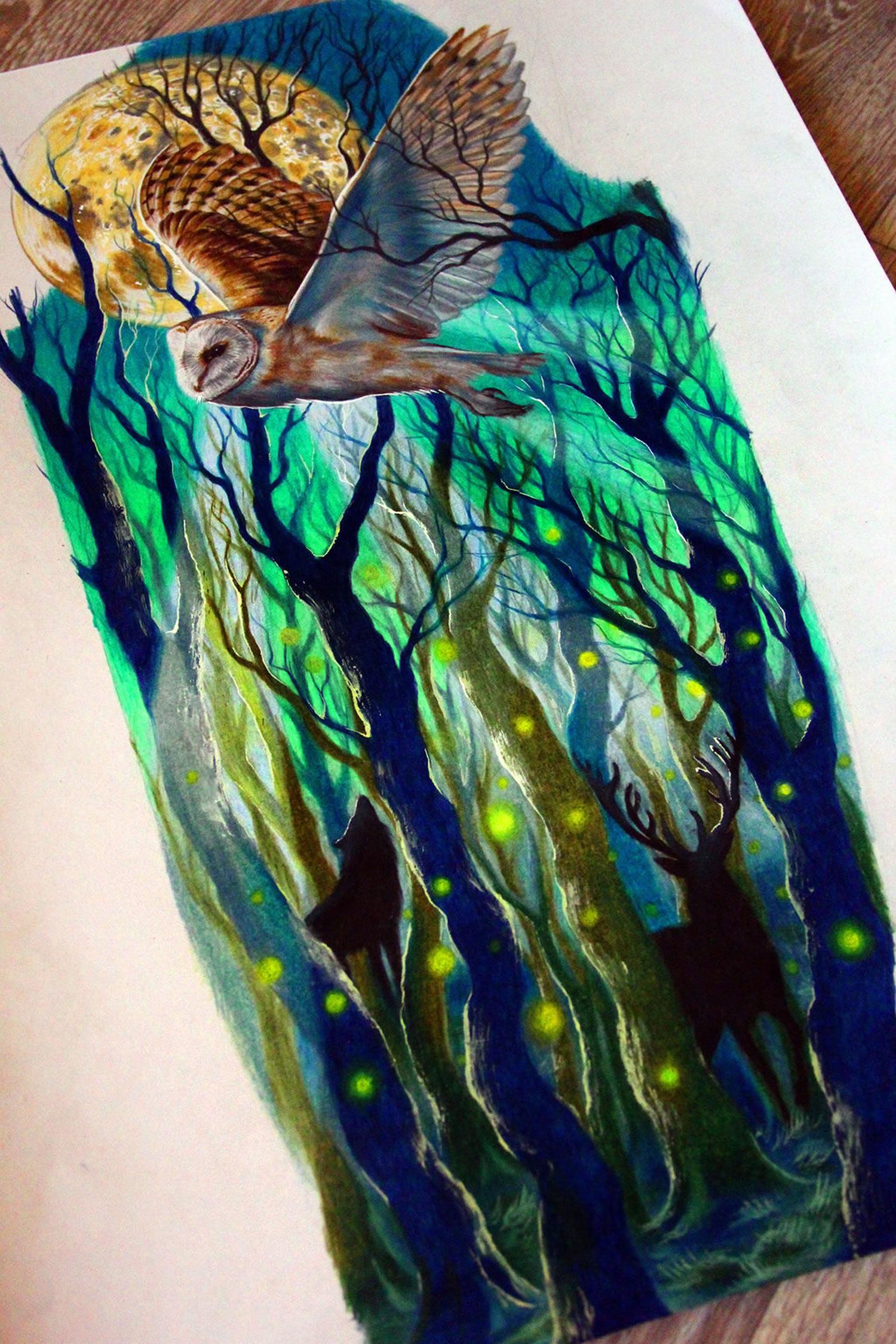 owl and trees drawing by Nika Samarina