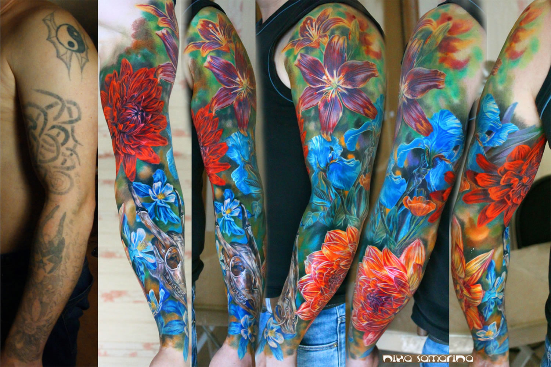 beautiful flower tattoo cover-up by nika samarina