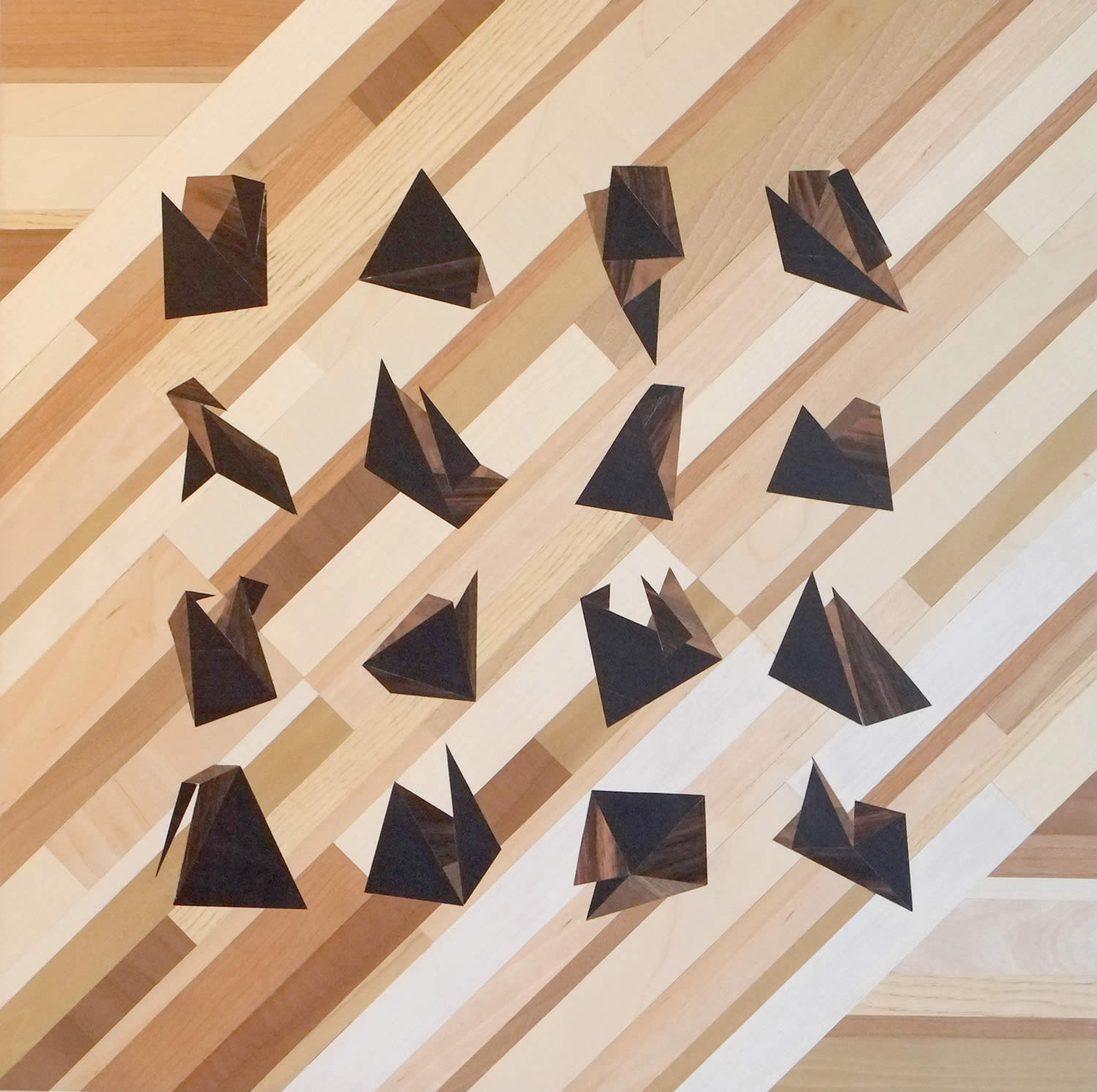 geometric shapes in rows, wood art. quid by rocco pezzella