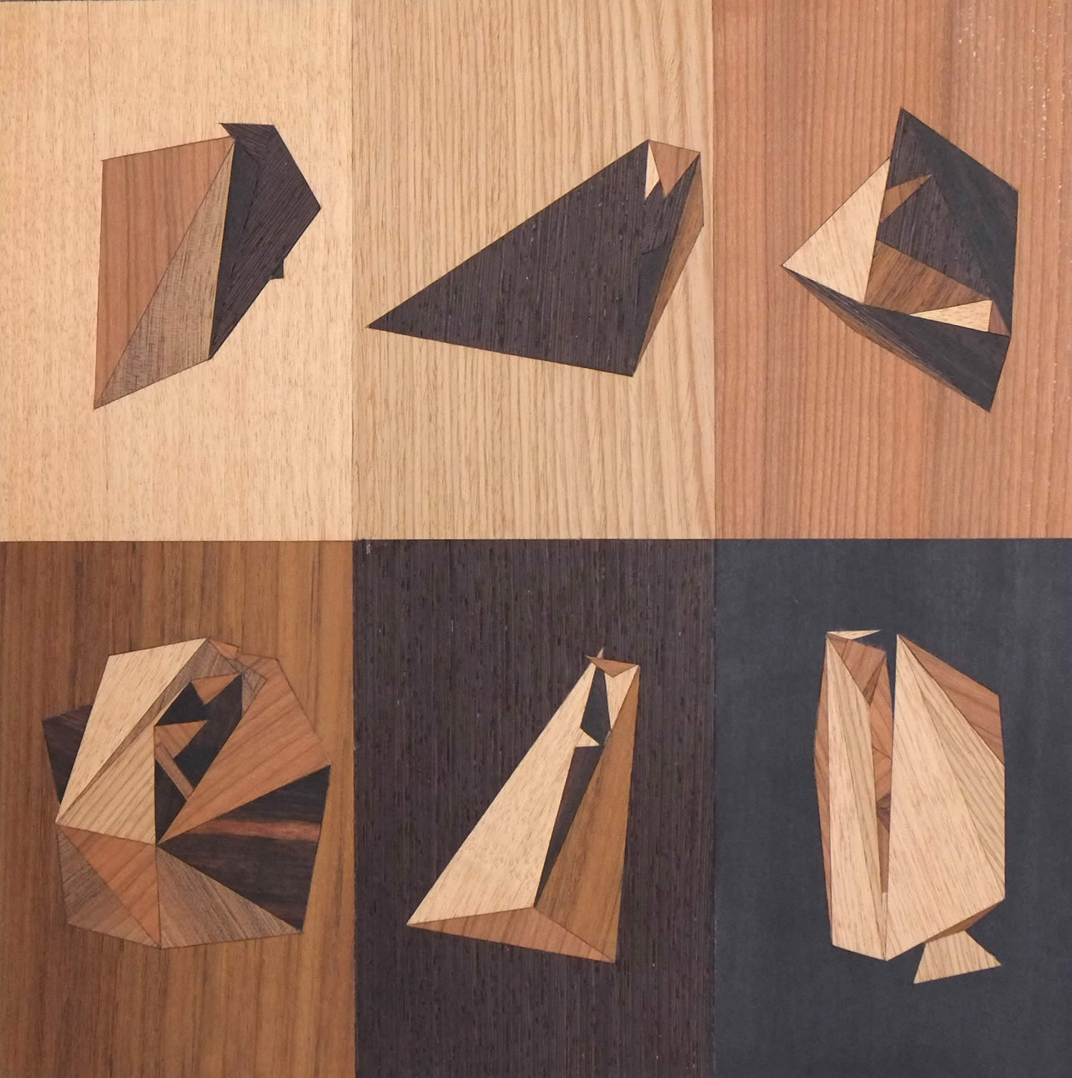 6 different colored wood pieces with geometric shapes, quid by rocco pezzella