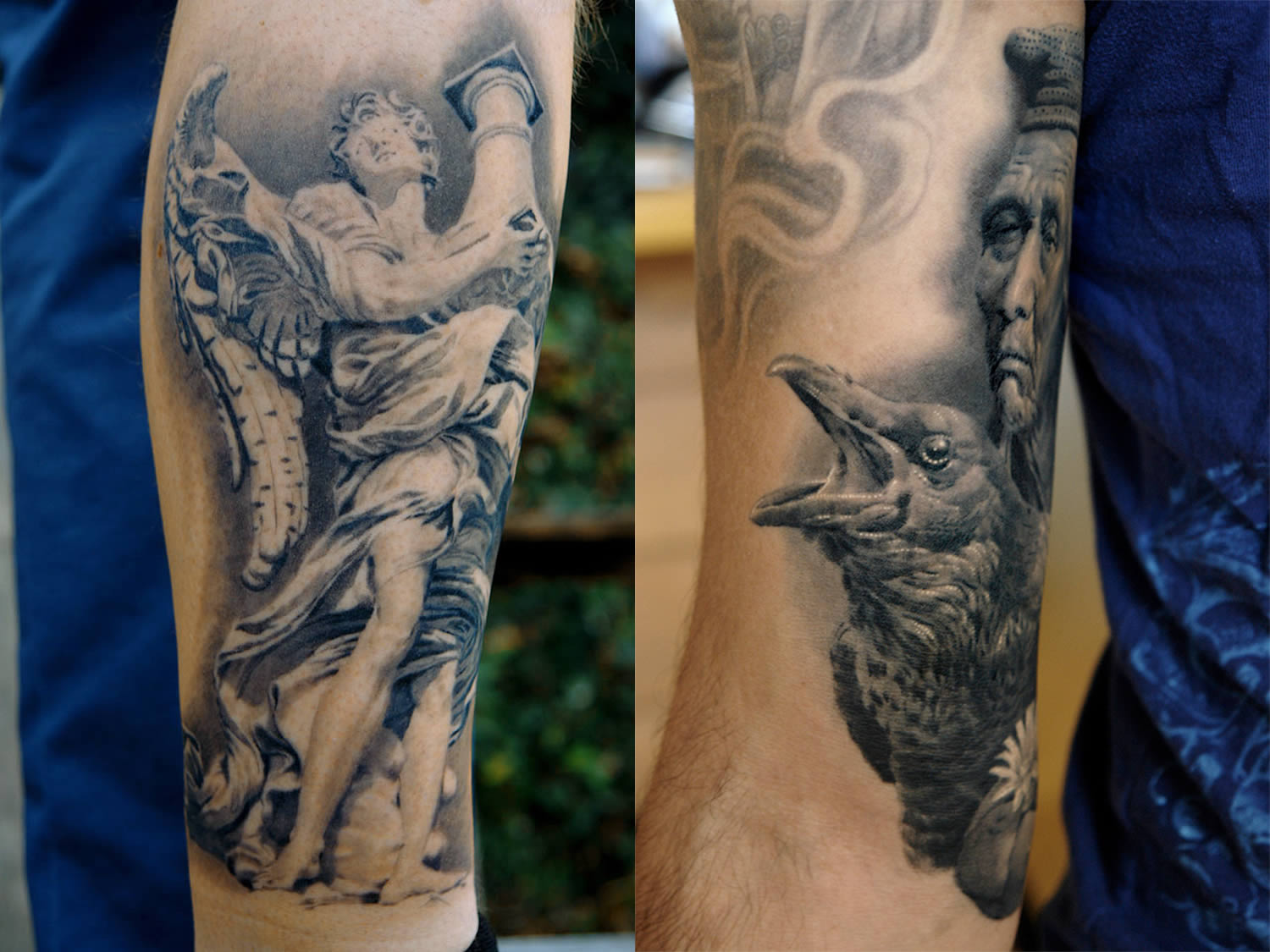 sculpture and bird and woman tattoos by Sergio Sanchez