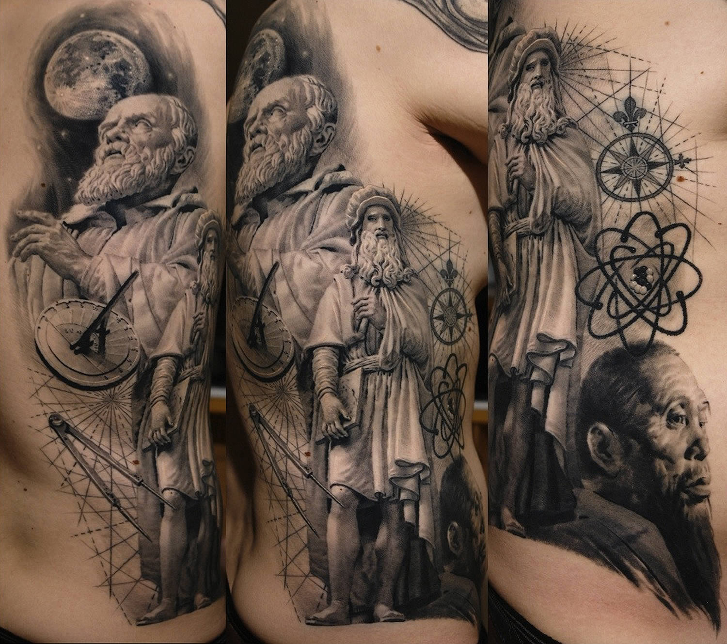 sculpture of columbus tattoo by sergiu sanchez