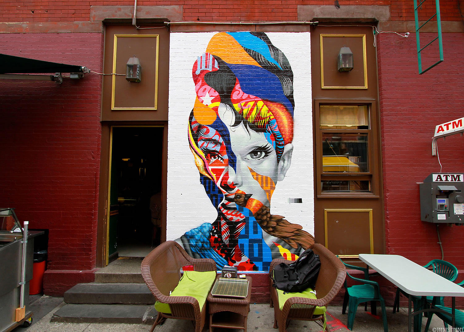front view of audrey hepburn mural by Tristan Eaton