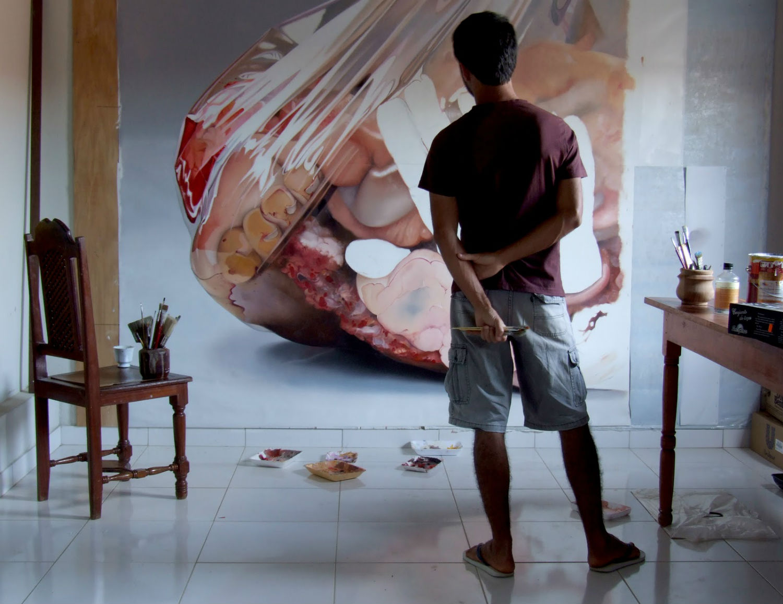 Fábio Magalhães hyperrealist body horror painting  artist