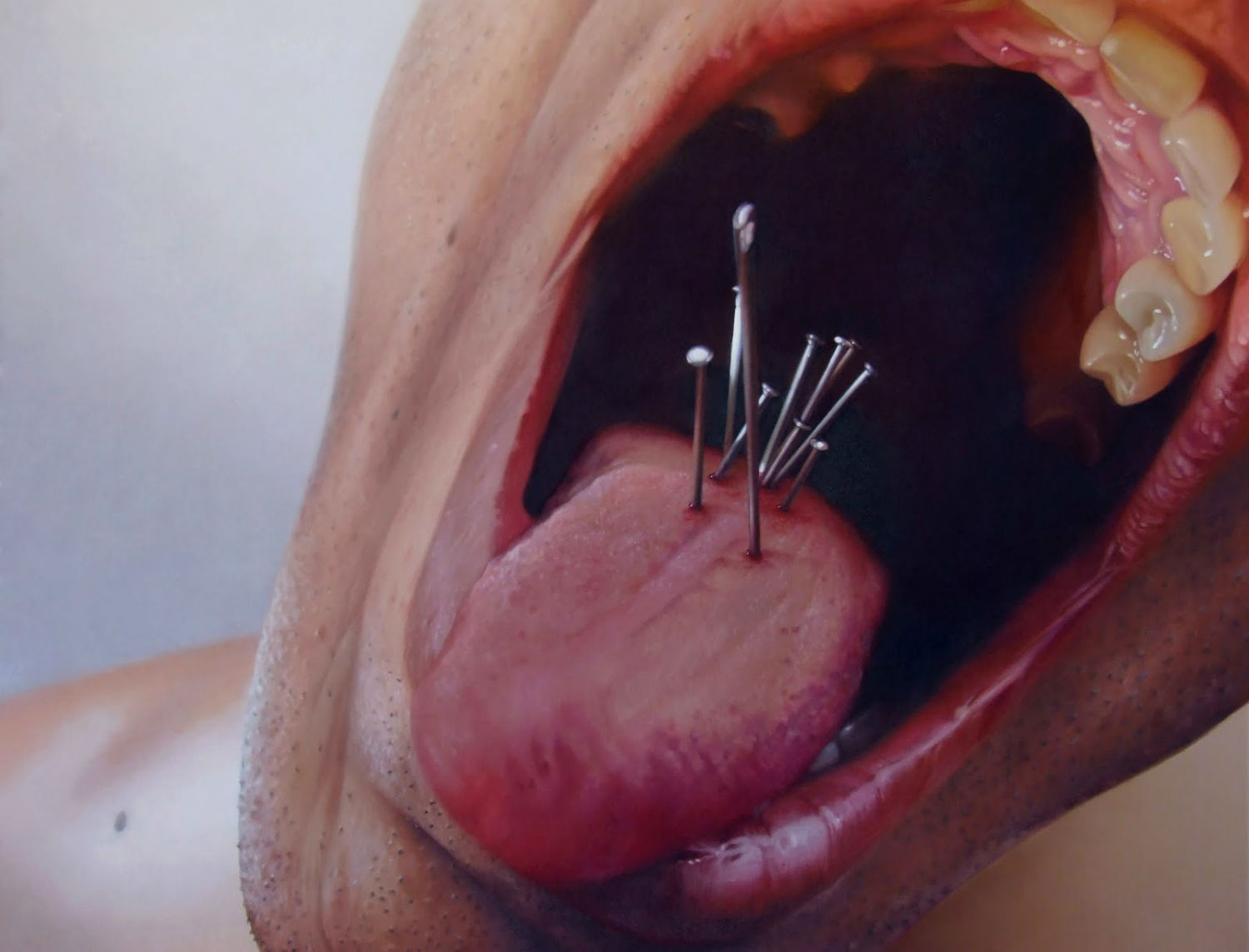 Fábio Magalhães hyperrealist body horror painting